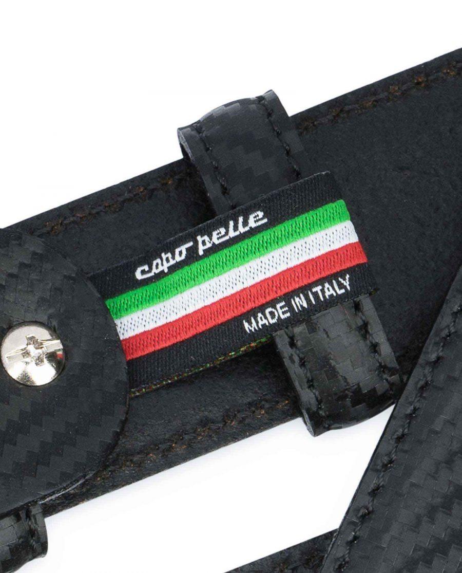 Black-Mens-Leather-Belt-Carbon-Print-Woven-label