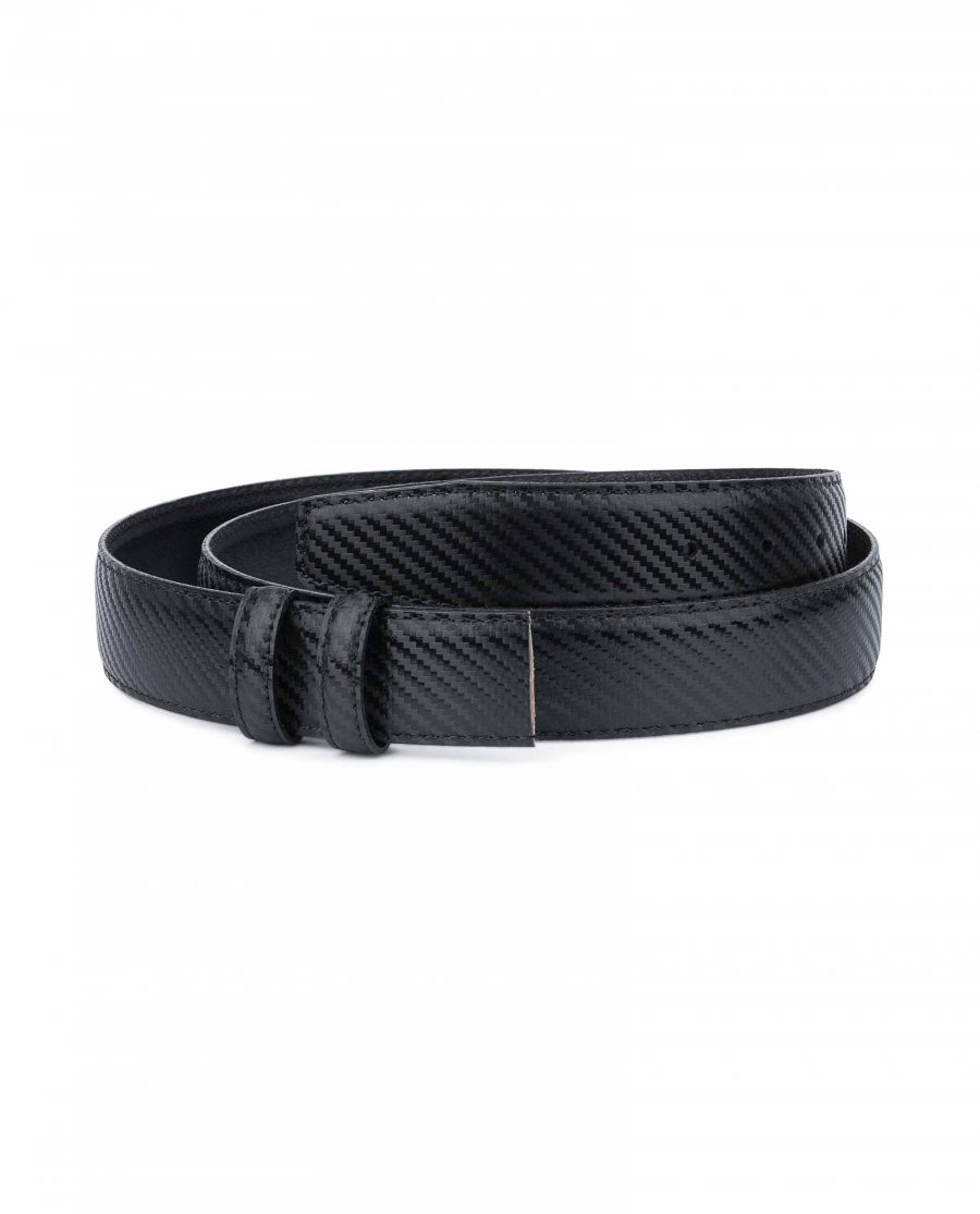 Carbon Fiber Leather Belt Without Buckle Black 1-3-8-inch Capo Pelle.jpeg