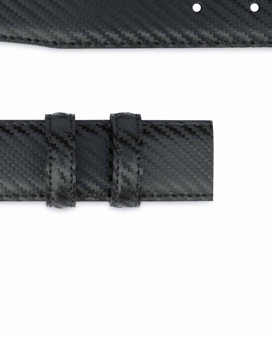 Carbon Fiber Leather Belt Without Buckle Black 1-3-8-inch Loops.jpeg