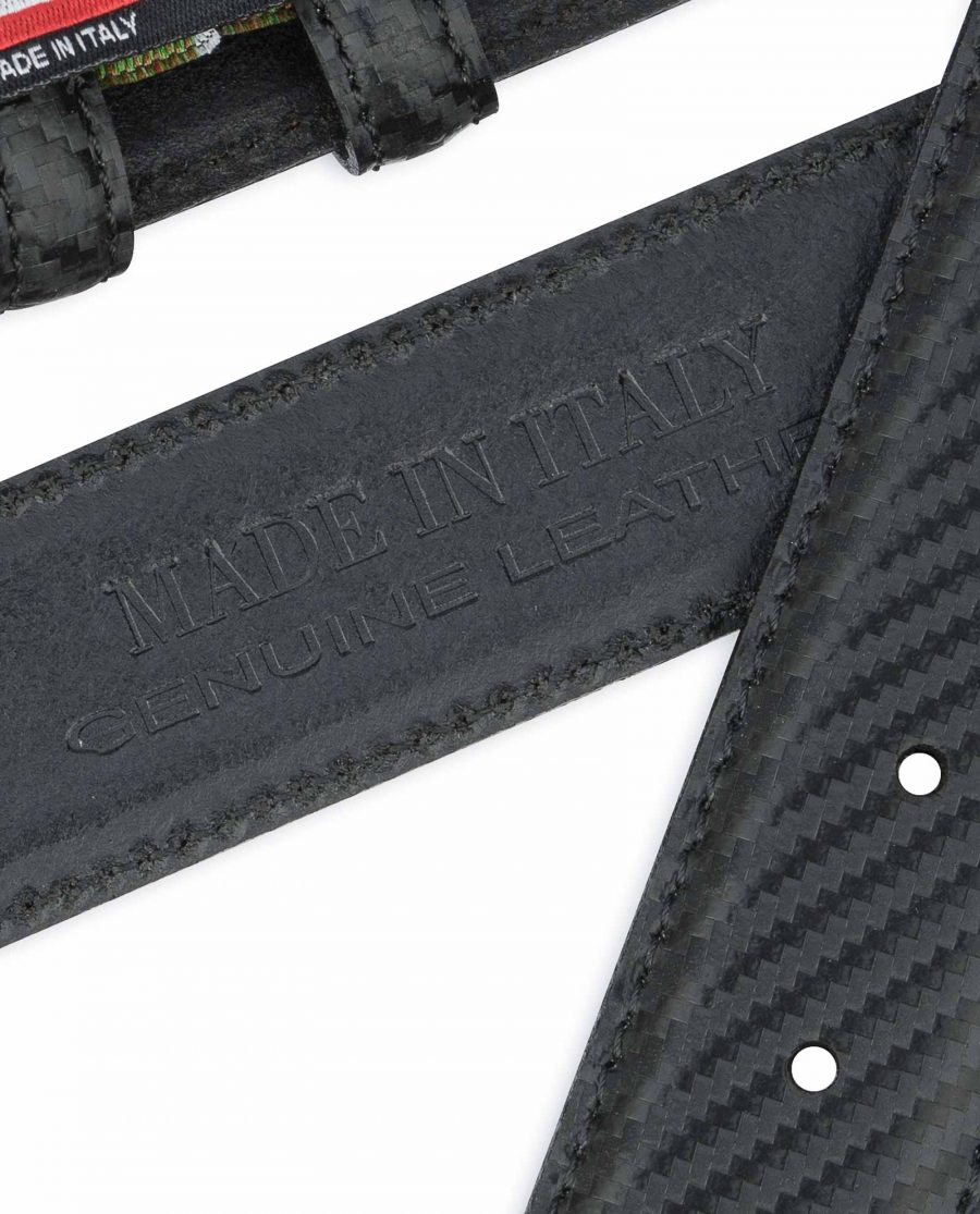Carbon Fiber Leather Belt Without Buckle Black 1-3-8-inch Stamp.jpeg