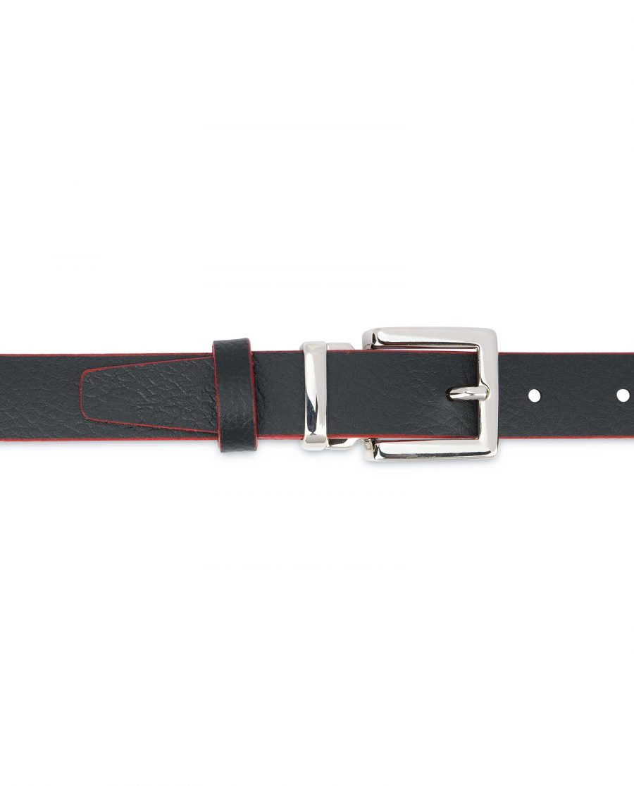 Mens-Black-Thin-Leather-Belt-Square-Buckle-1-inch