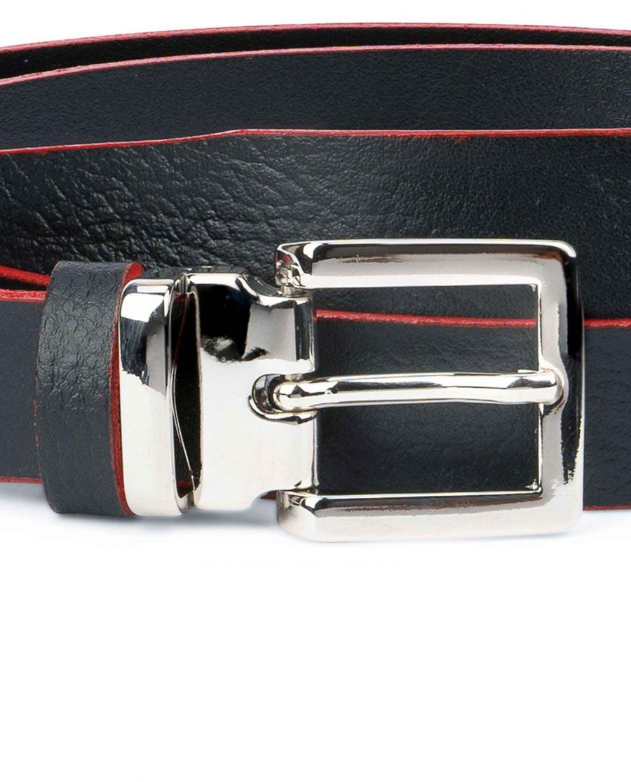 Mens-Black-Thin-Leather-Belt-Square-Buckle-Italian-buckle