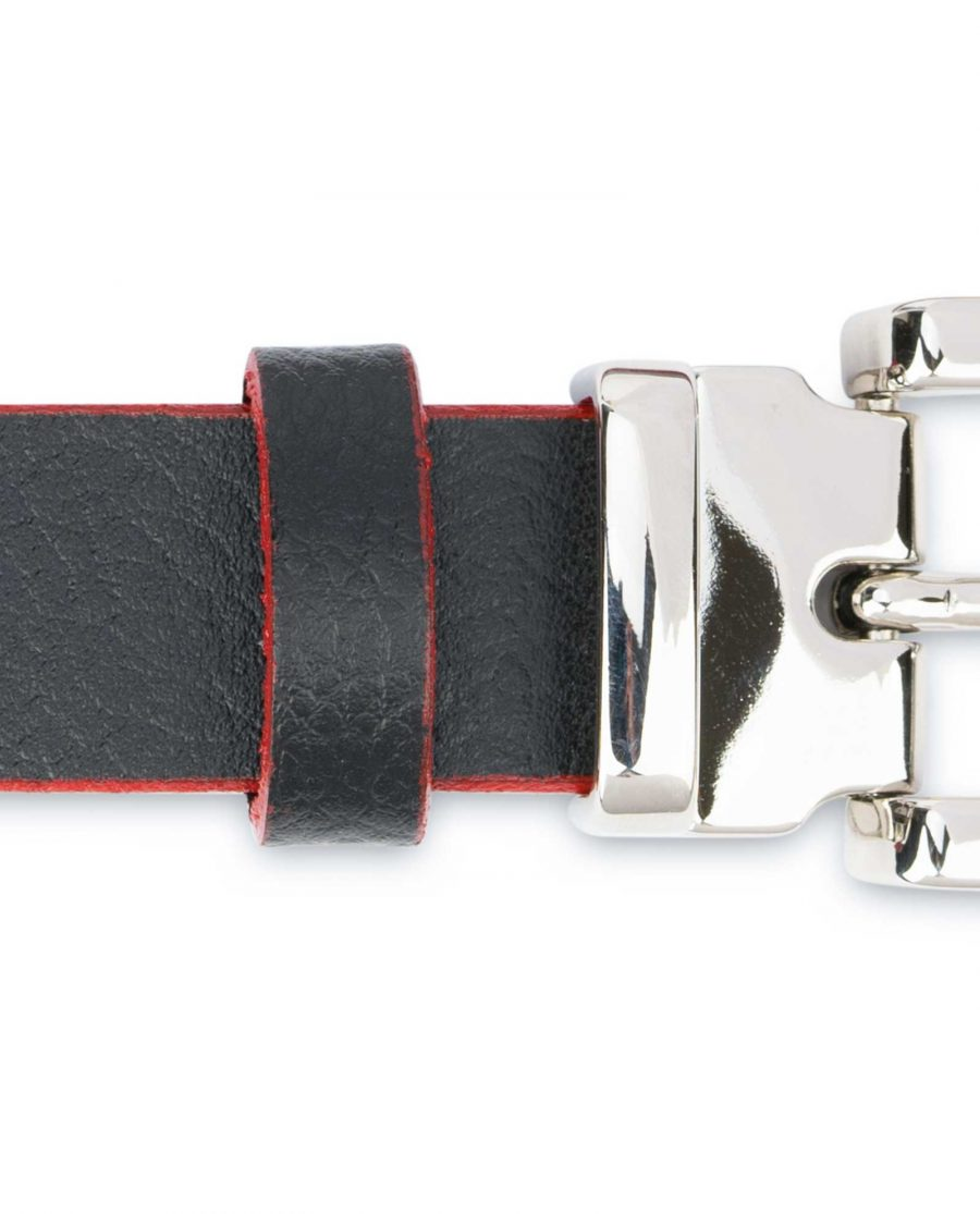Mens-Black-Thin-Leather-Belt-Square-Buckle-Loops