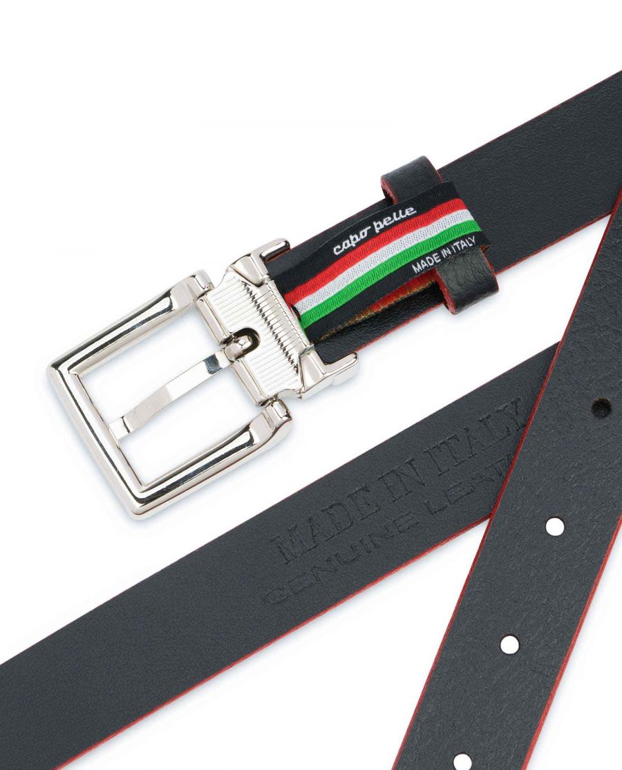 Mens-Black-Thin-Leather-Belt-Square-Buckle-Stamp