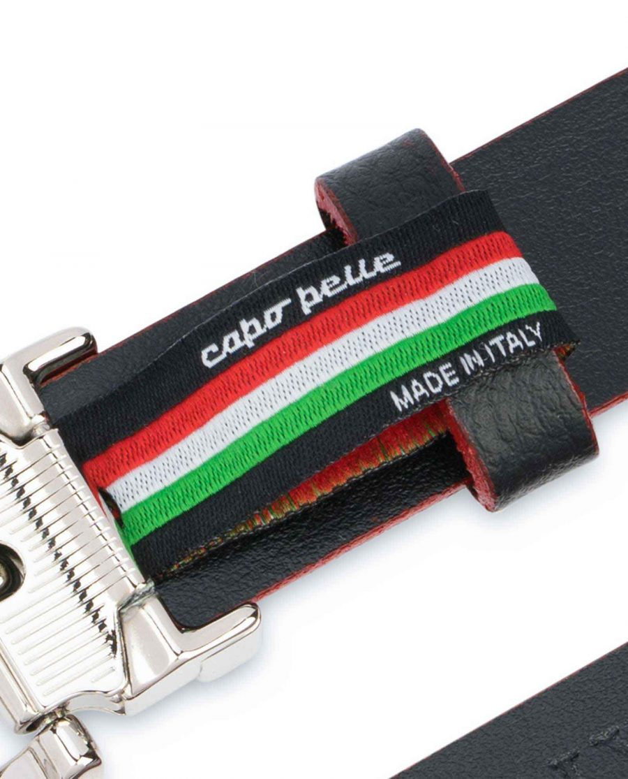 Mens-Black-Thin-Leather-Belt-Square-Buckle-Woven-tag