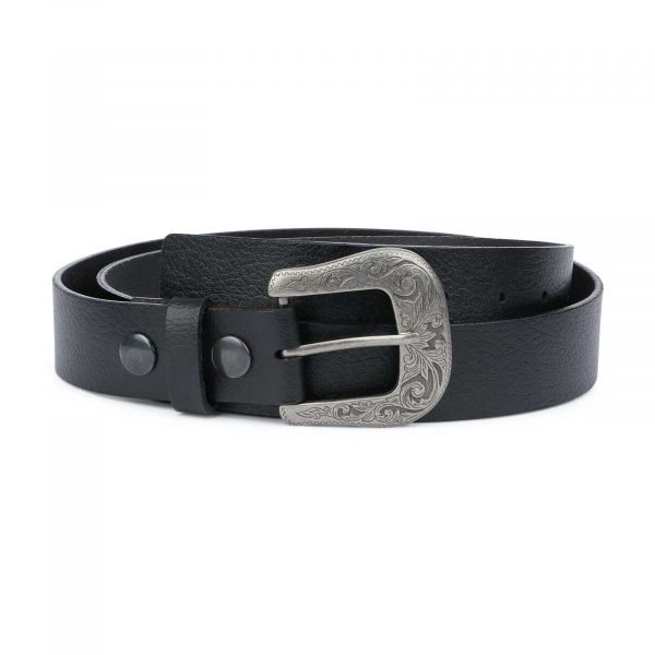 Mens-Black-Western-Belt-with-Removable-Buckle-Capo-Pelle