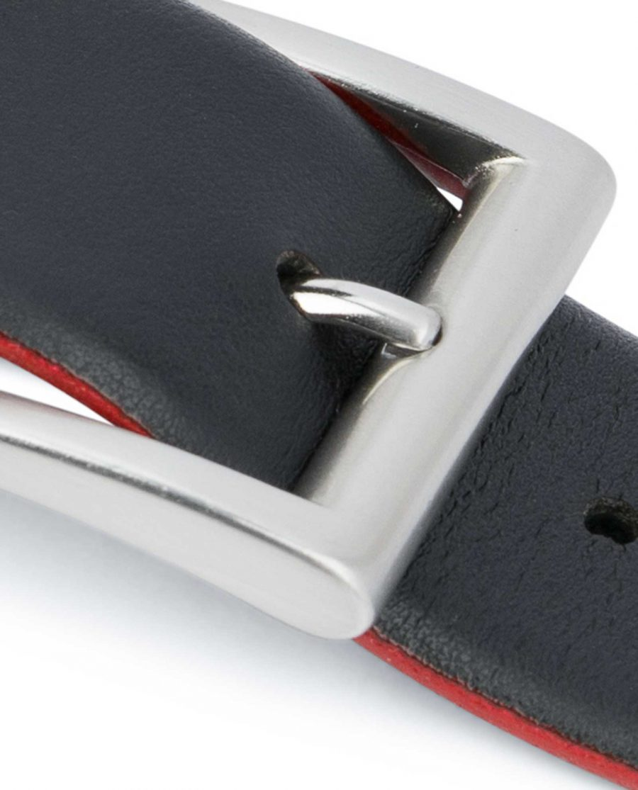 Mens-Designer-Belt-Black-with-Red-Silver-buckle