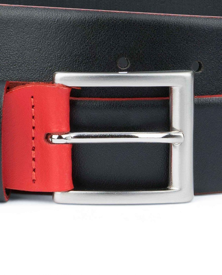 Mens-Designer-Belt-Black-with-Red-Square-buckle
