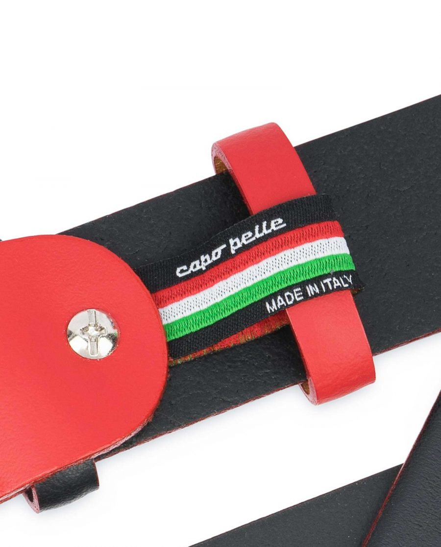 Mens-Designer-Belt-Black-with-Red-Woven-label