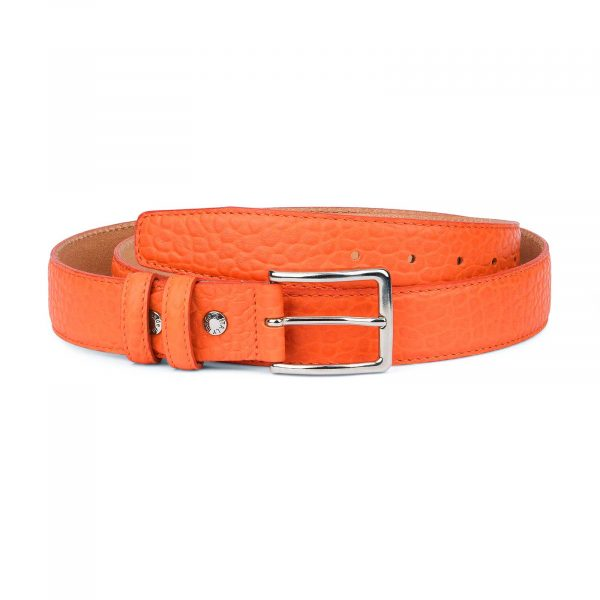 Mens-Orange-Belt-Pebbled-Italian-Leather-Capo-Pelle