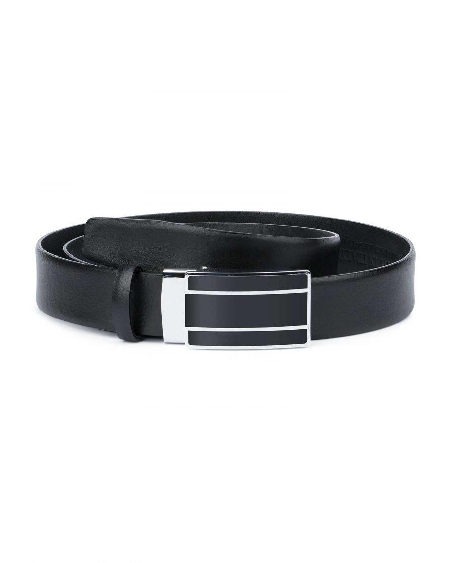 Mens-Ratchet-Belt-Black-Smooth-Leather-Capo-Pelle