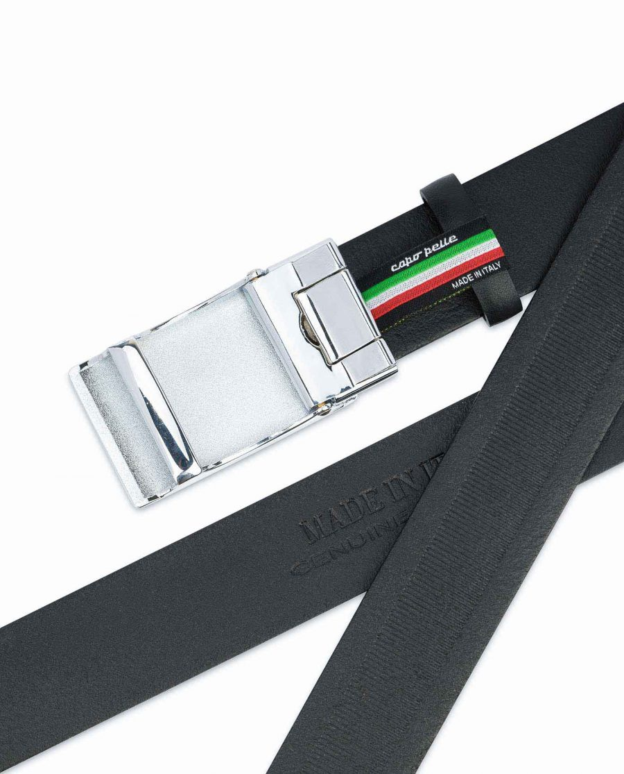 Mens-Ratchet-Belt-Black-Smooth-Leather-Capo-Pelle-Automatic-buckle