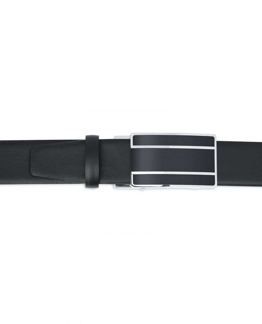 Mens-Ratchet-Belt-Black-Smooth-Leather-Capo-Pelle-Black-buckle