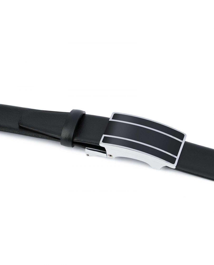Mens-Ratchet-Belt-Black-Smooth-Leather-Capo-Pelle-Silver-lines