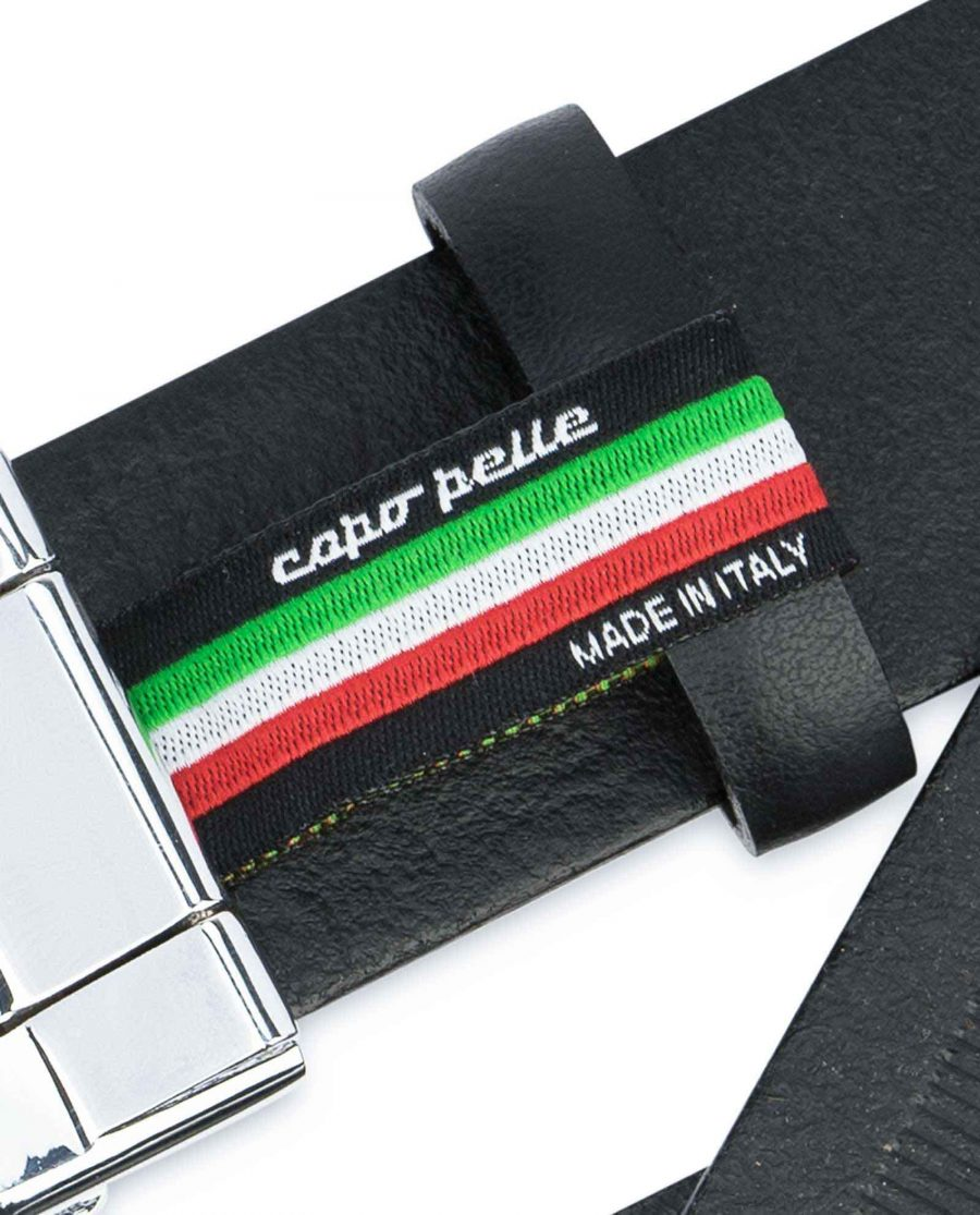 Mens-Ratchet-Belt-Black-Smooth-Leather-Capo-Pelle-Woven-tag