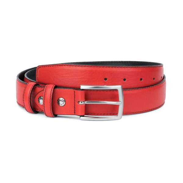 Mens-Red-Leather-Belt-Black-Stitching-Capo-Pelle