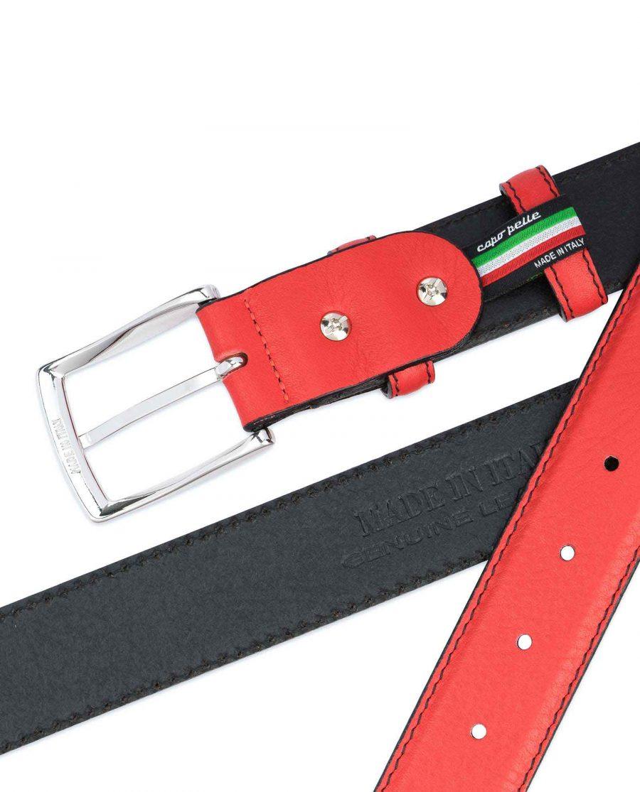 Mens-Red-Leather-Belt-Black-Stitching-Italian-calf-skin