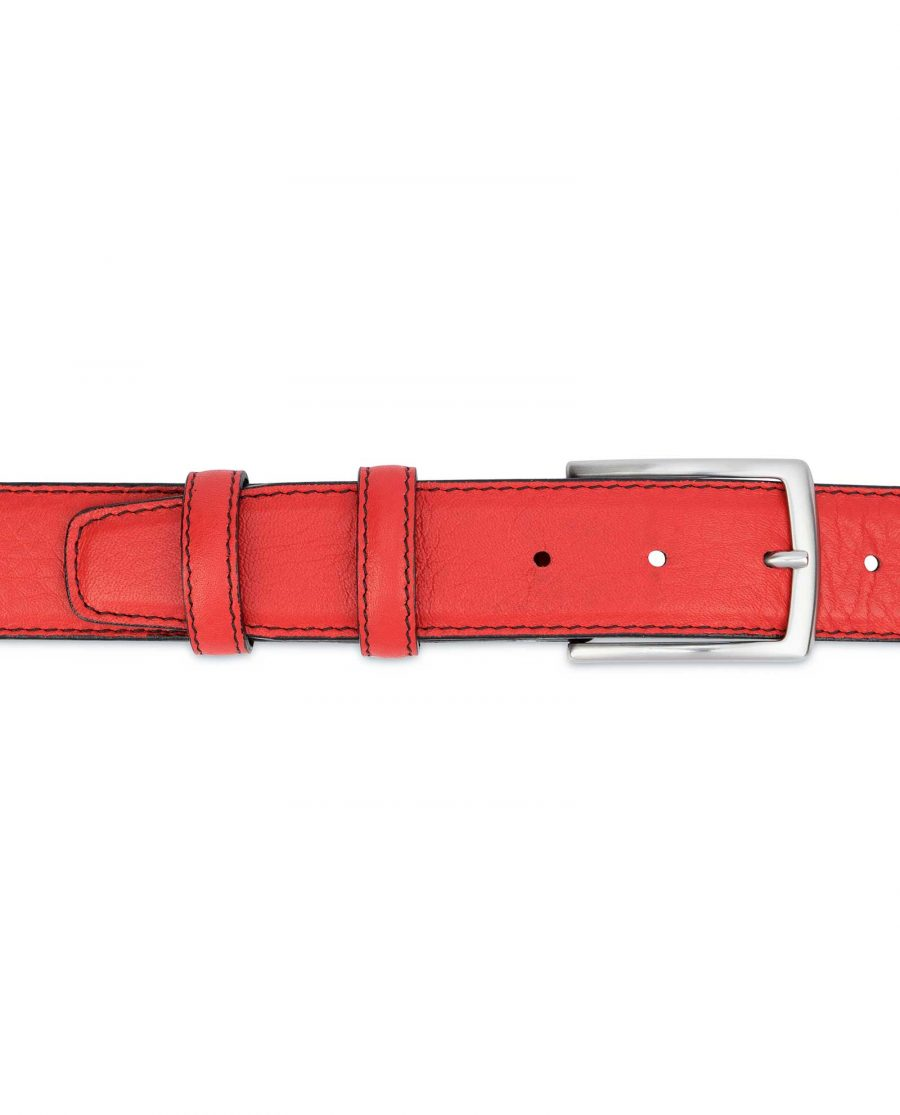 Mens-Red-Leather-Belt-Black-Stitching-On-trousers