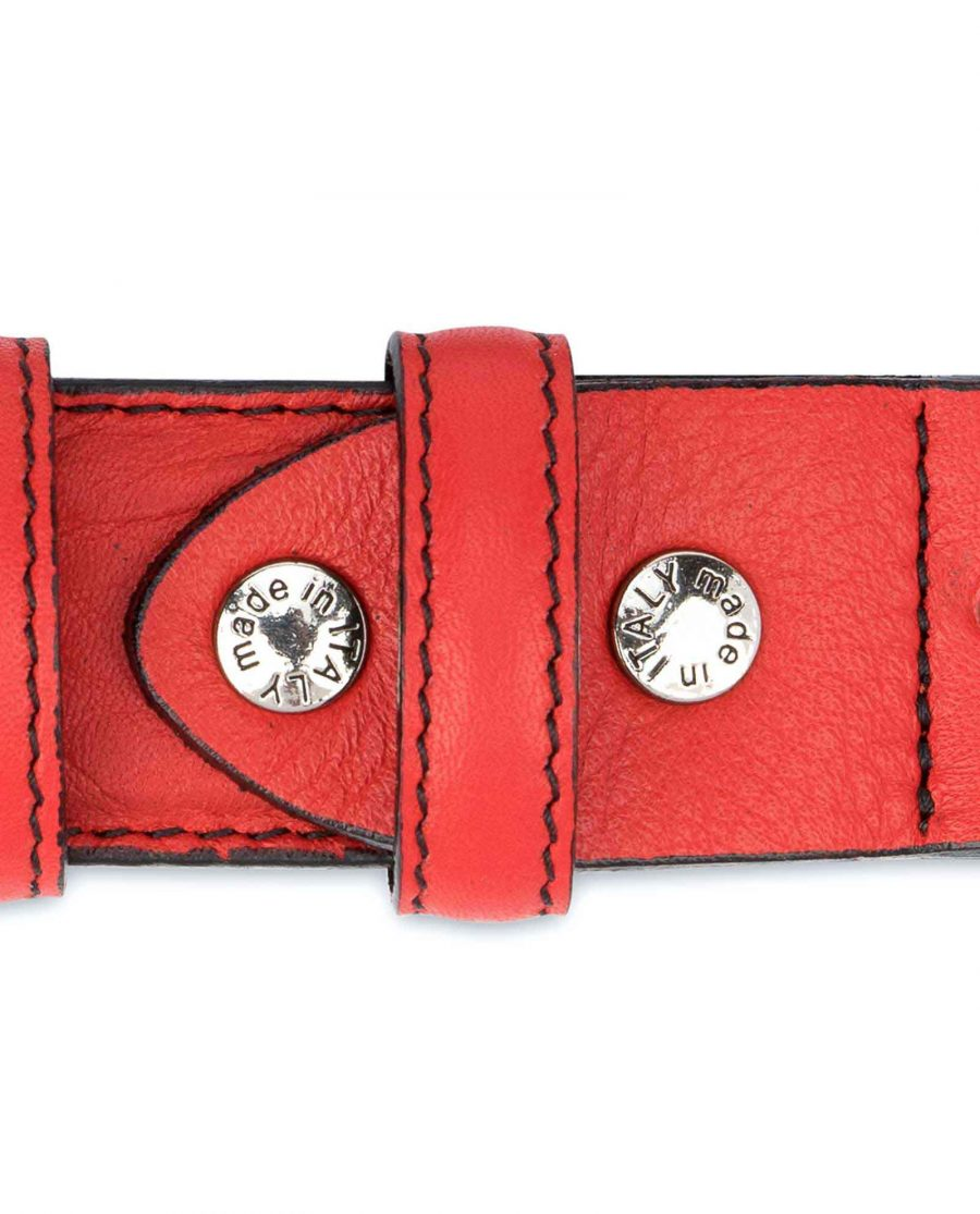 Mens-Red-Leather-Belt-Black-Stitching-Screws