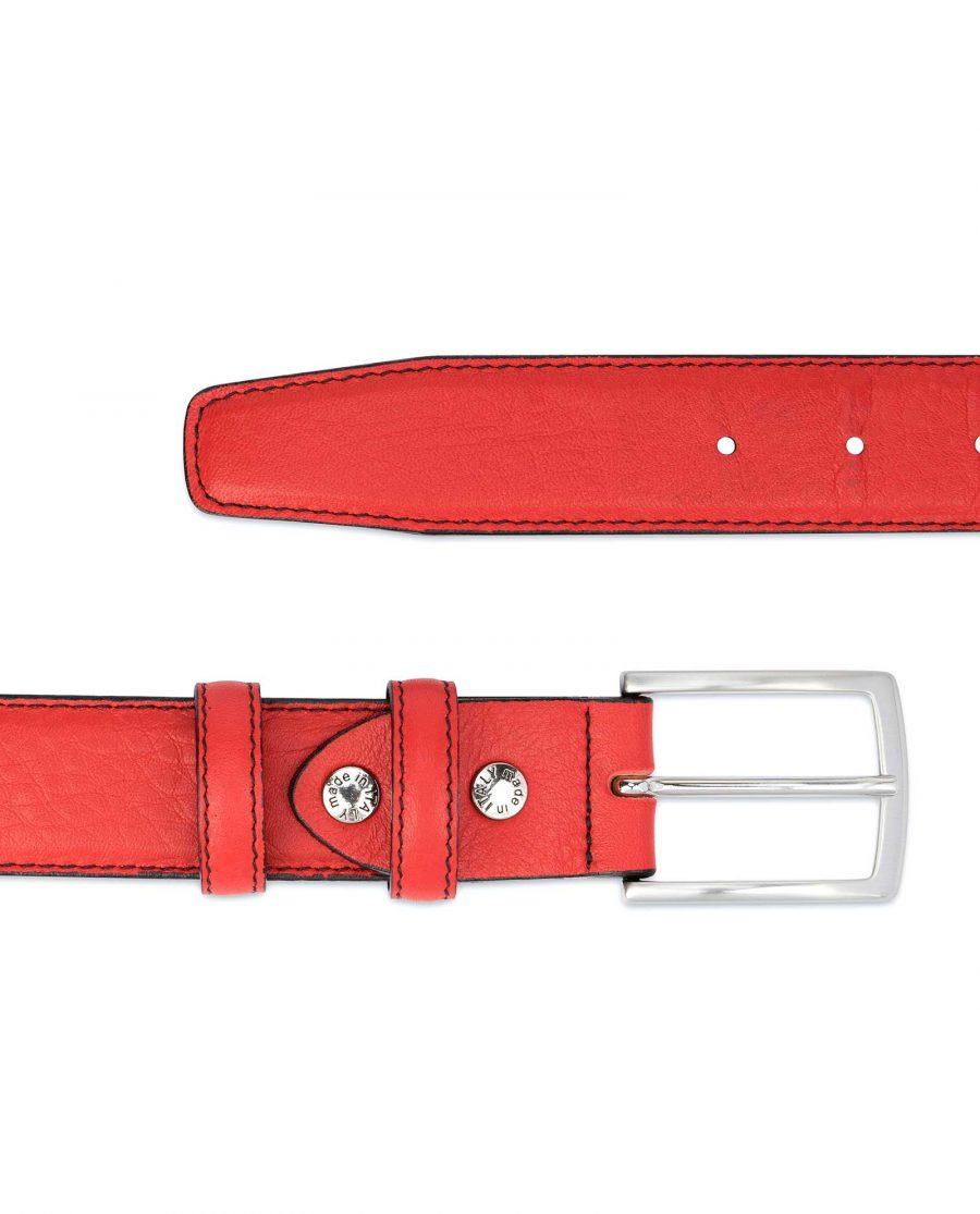 Mens-Red-Leather-Belt-Black-Stitching-Soft-calfskin