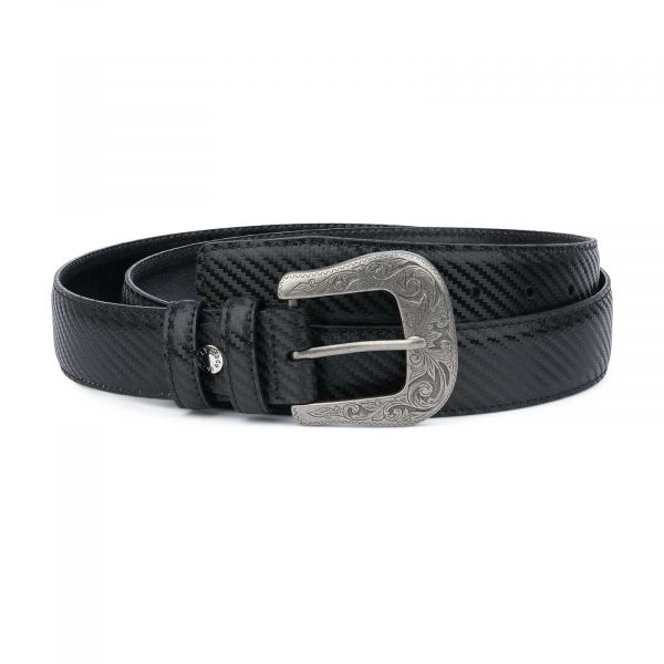 Mens-Western-Belt-With-Buckle-Black-Carbon-Capo-Pelle
