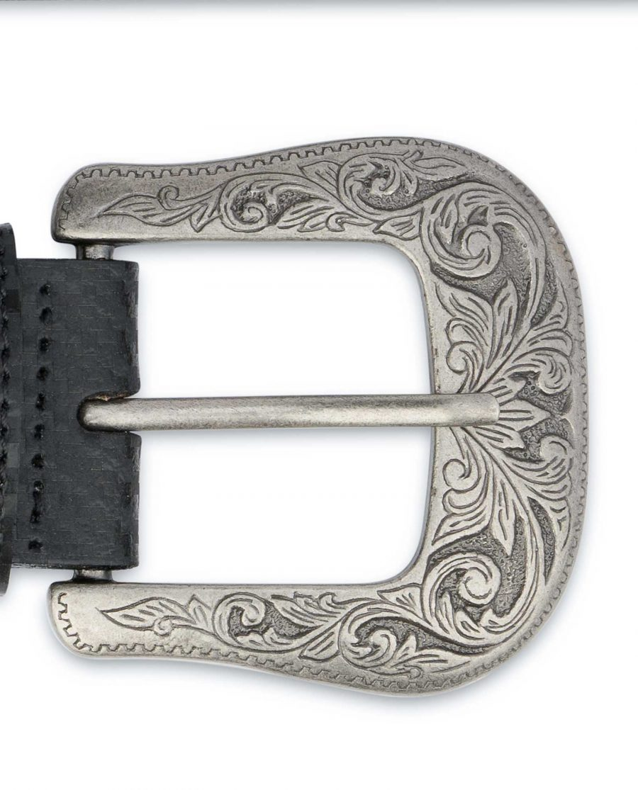Men's Western Belt With Buckle Black Carbon Heavy solid