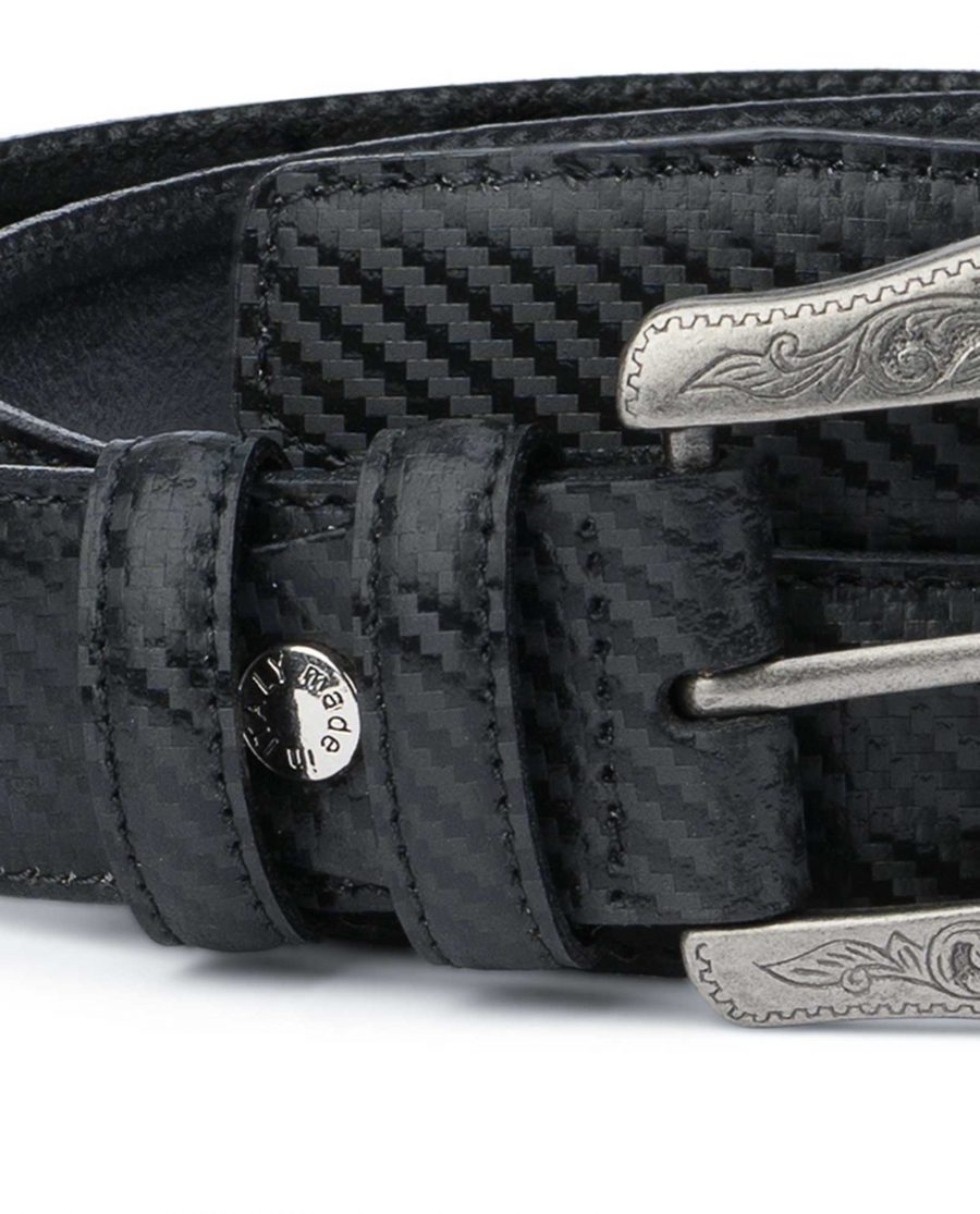 Men's Western Belt With Buckle Black Carbon fiber