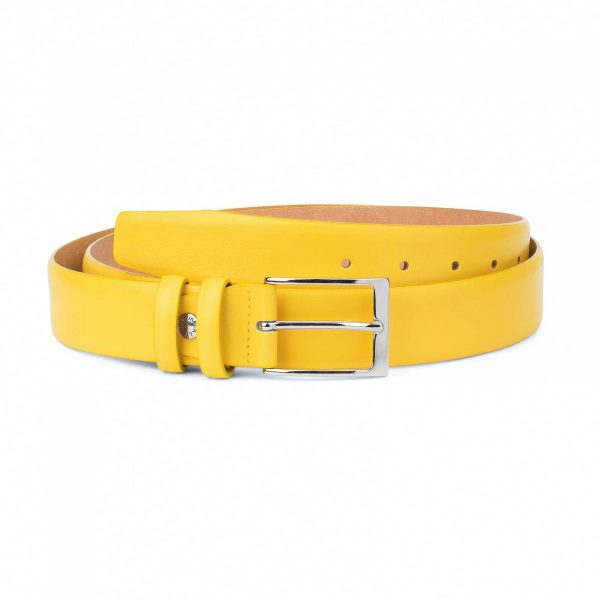 Mens-Yellow-Leather-Belt-For-Jeans-Capo-Pelle