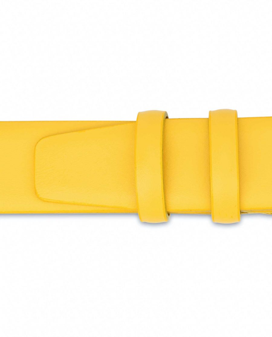 Mens-Yellow-Leather-Belt-For-Jeans-Loops