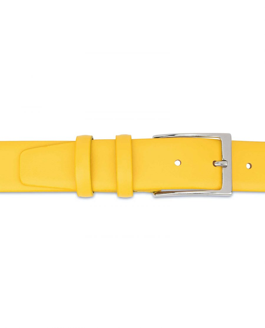 Mens-Yellow-Leather-Belt-For-Jeans-On-pants