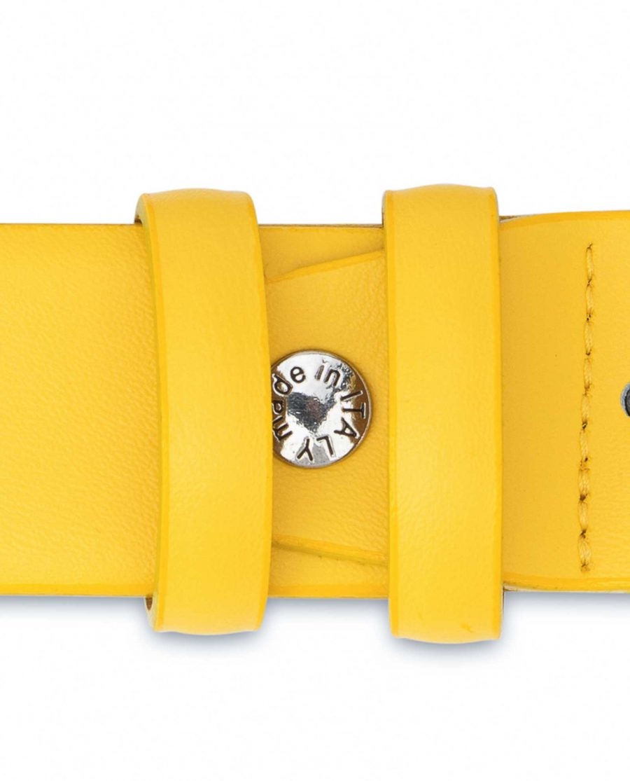 Mens-Yellow-Leather-Belt-For-Jeans-Screw