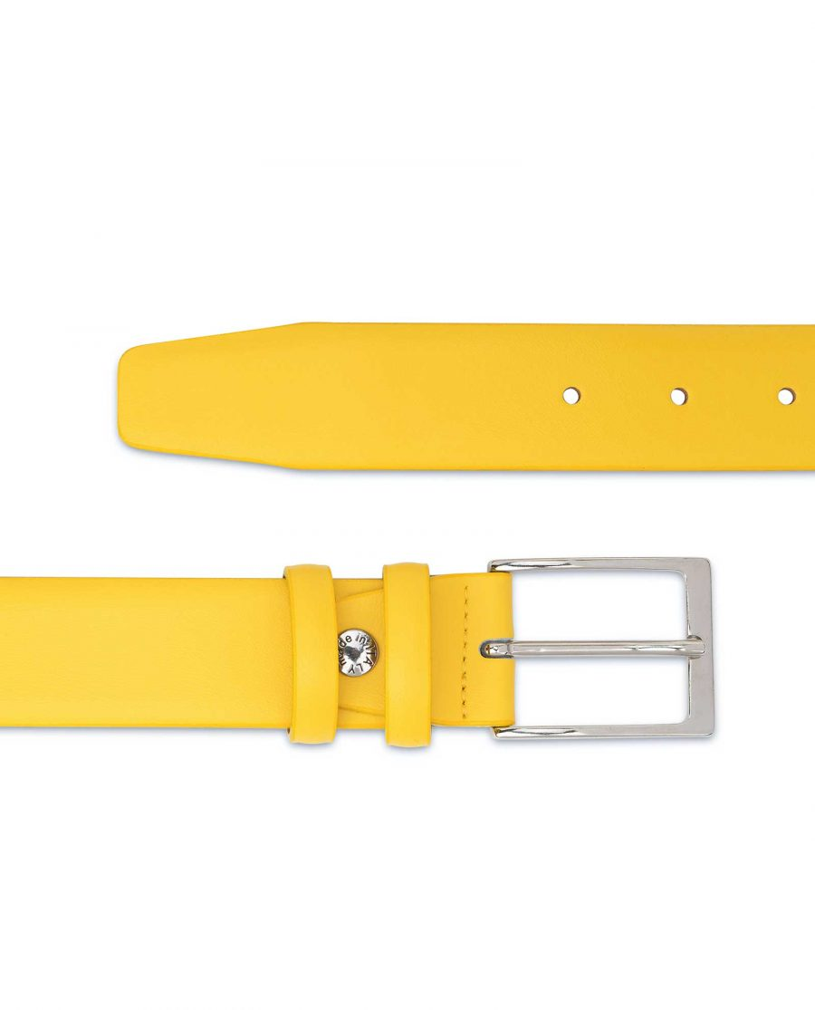 Mens-Yellow-Leather-Belt-For-Jeans-Smooth
