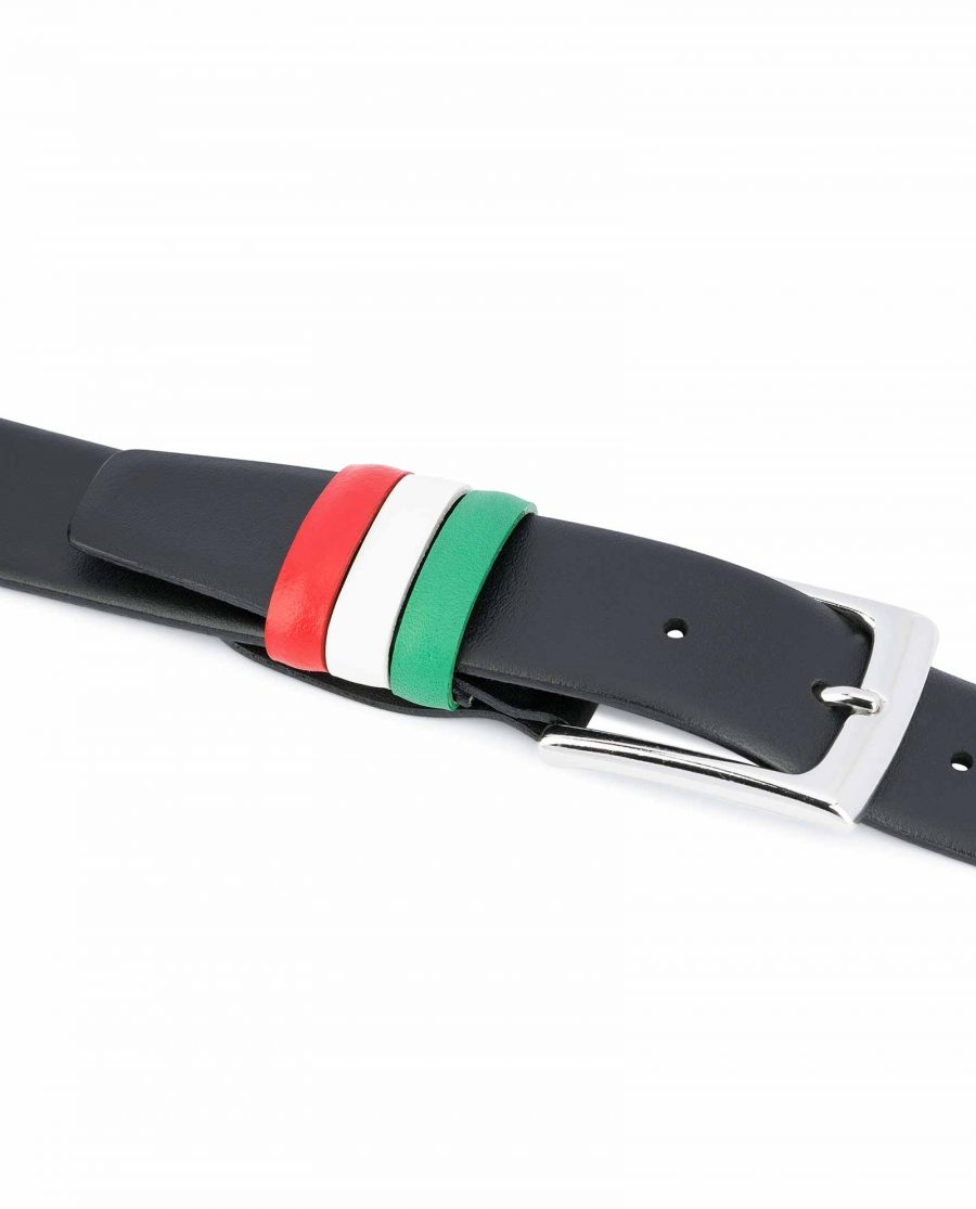 Mens-belts-ITALY-Flag-belt-Genuine-leather-Black-smooth-Italian-gift-ideas-Belt-loops
