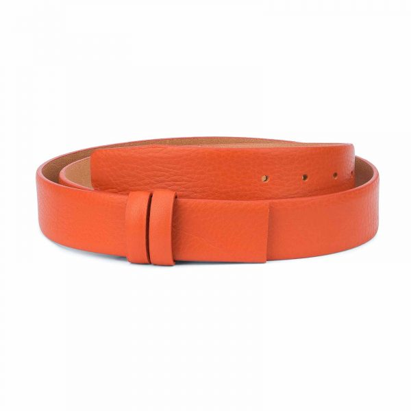 Orange-Belt-Without-Buckle-Soft-Leather-Strap-1-3-8-inch-Adjustable
