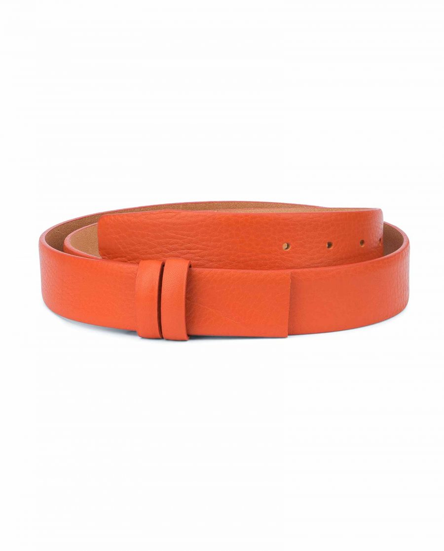 Orange-Belt-Without-Buckle-Soft-Leather-Strap-1-3-8-inch-Adjustable