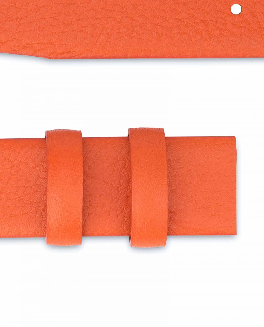 Orange-Belt-Without-Buckle-Soft-Leather-Strap-1-3-8-inch-Loops