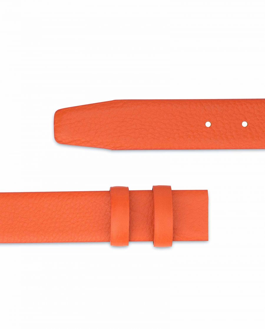 Orange-Belt-Without-Buckle-Soft-Leather-Strap-1-3-8-inch-Pebbled