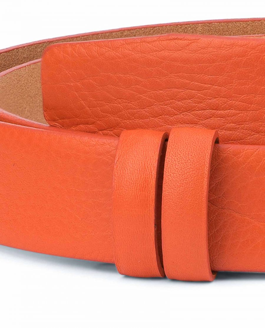 Orange-Belt-Without-Buckle-Soft-Leather-Strap-1-3-8-inch-Replacement