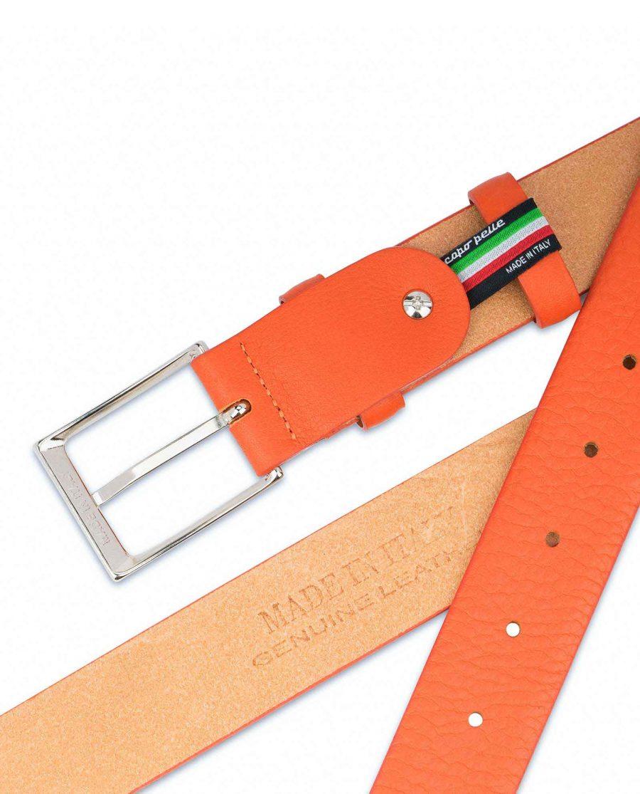 Orange-Leather-Belt-Soft-and-Luxury-Hot-stamp