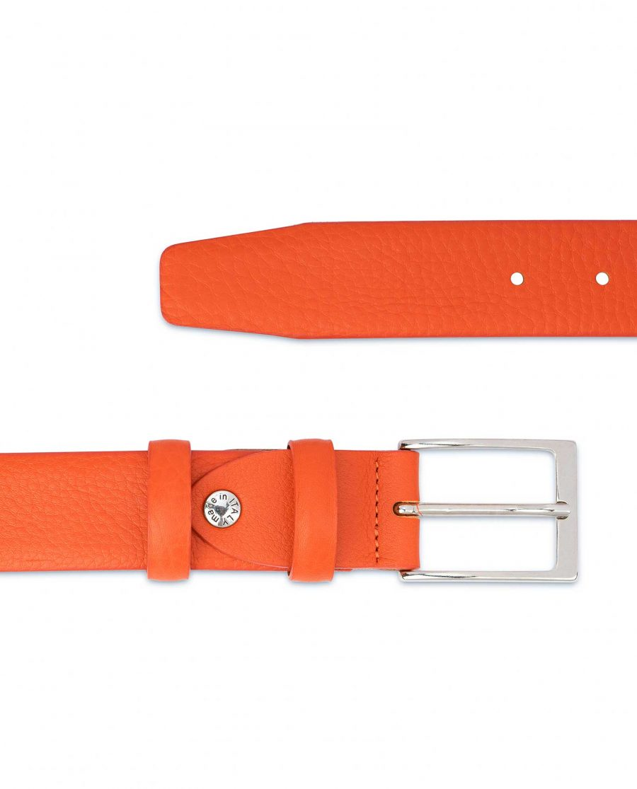 Orange-Leather-Belt-Soft-and-Luxury-Pebbled-calfskin