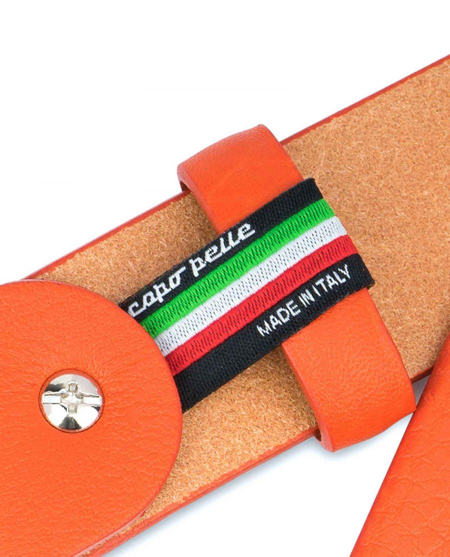 Orange-Leather-Belt-Soft-and-Luxury-Woven-tag