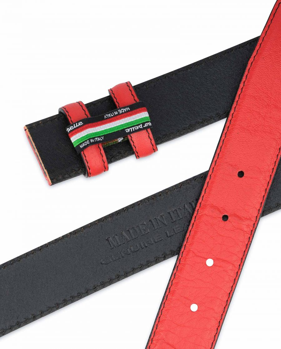 Red-Belt-With-No-Buckle-Soft-Italian-Leather-Hot-stamp