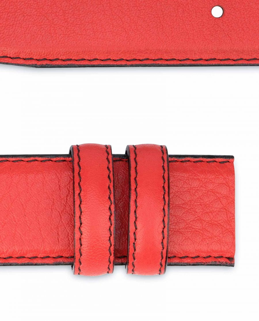Red-Belt-With-No-Buckle-Soft-Italian-Leather-Loops