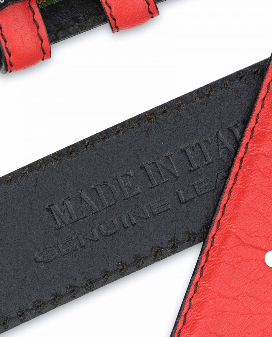 Red-Belt-With-No-Buckle-Soft-Italian-Leather-Made-in-Italy