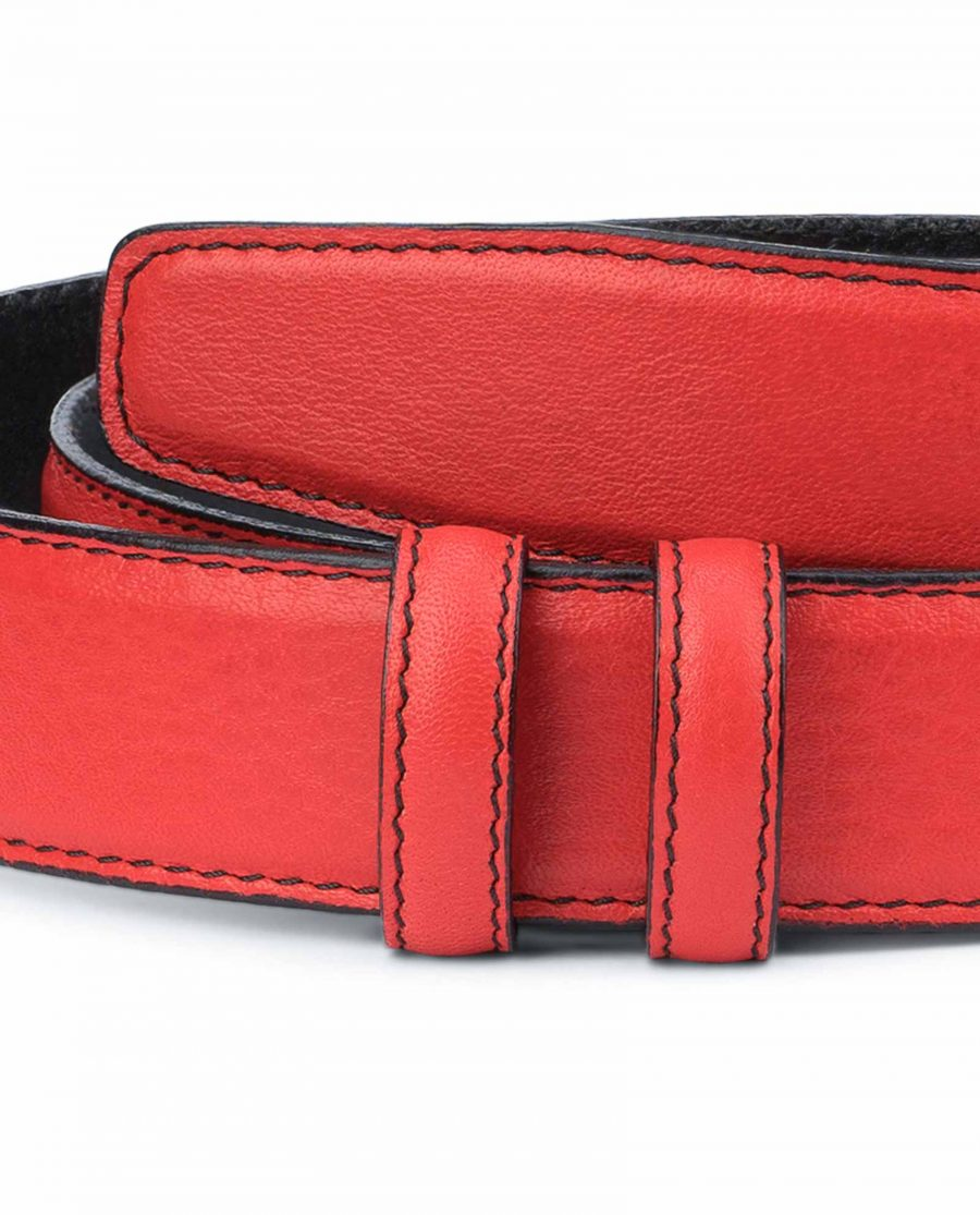 Red-Belt-With-No-Buckle-Soft-Italian-Leather-Pebbled