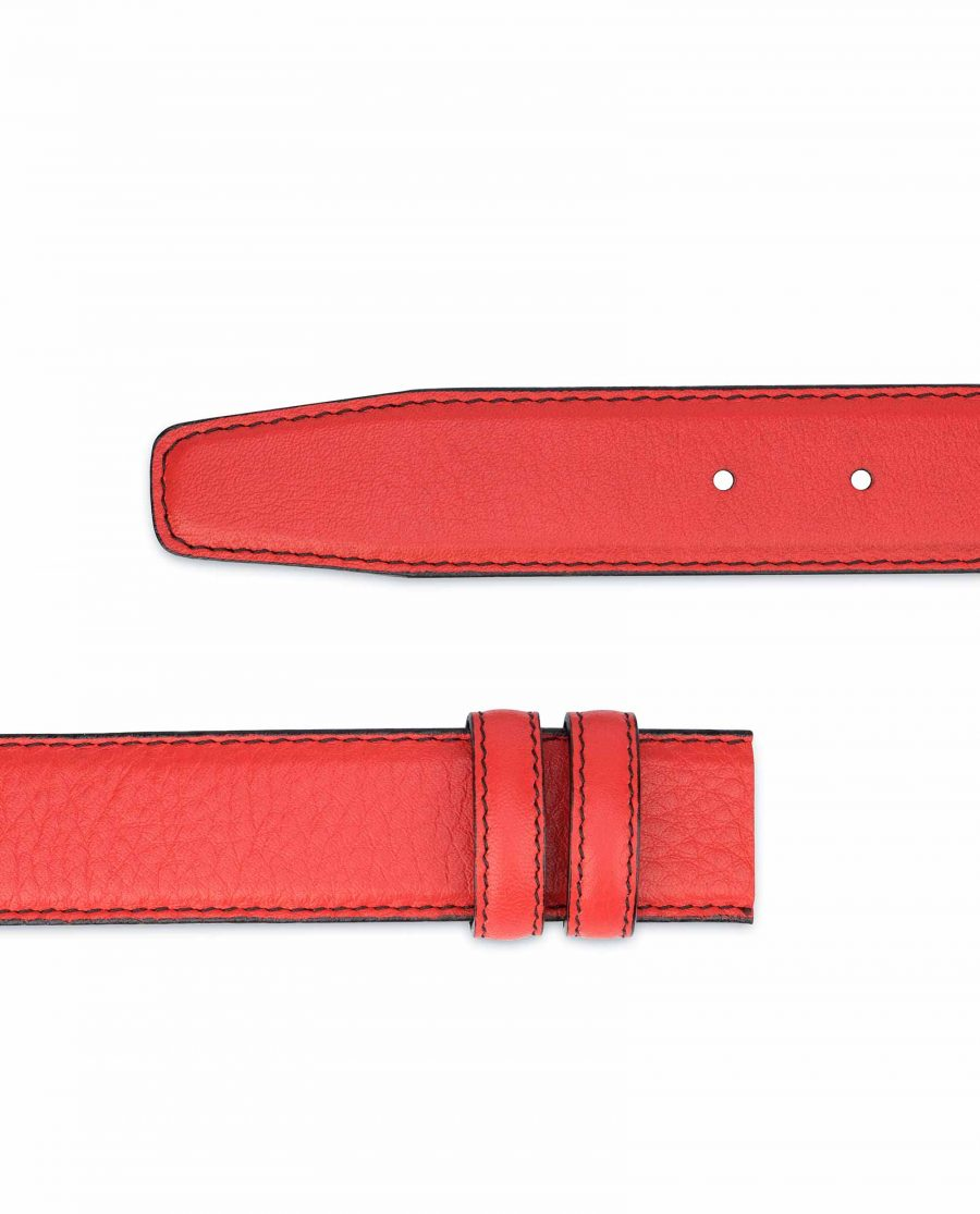 Red-Belt-With-No-Buckle-Soft-Italian-Leather-Replacement-35-mm