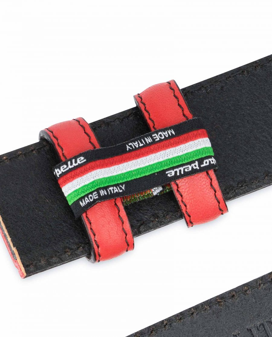 Red-Belt-With-No-Buckle-Soft-Italian-Leather-Woven-tags