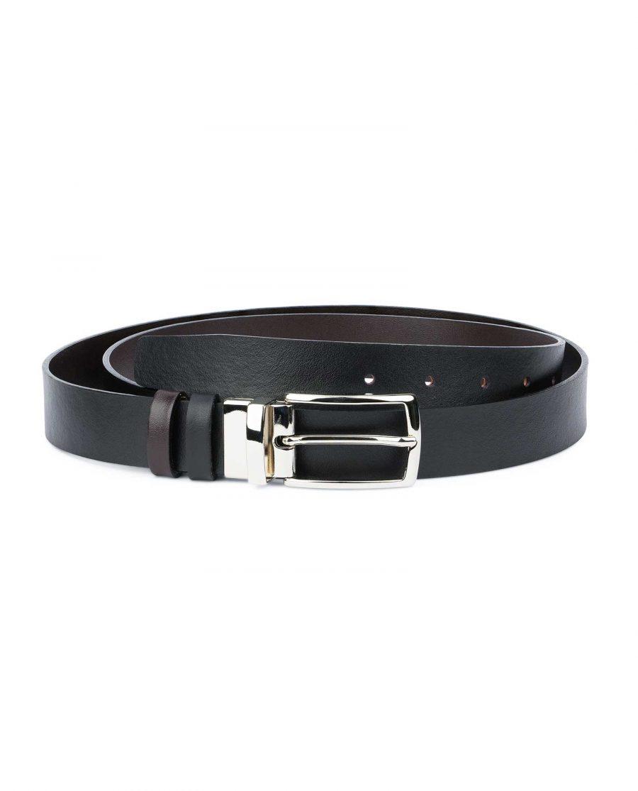 Reversible-Leather-Belt-Mens-Black-Brown-1-1-8-inch-Capo-Pelle