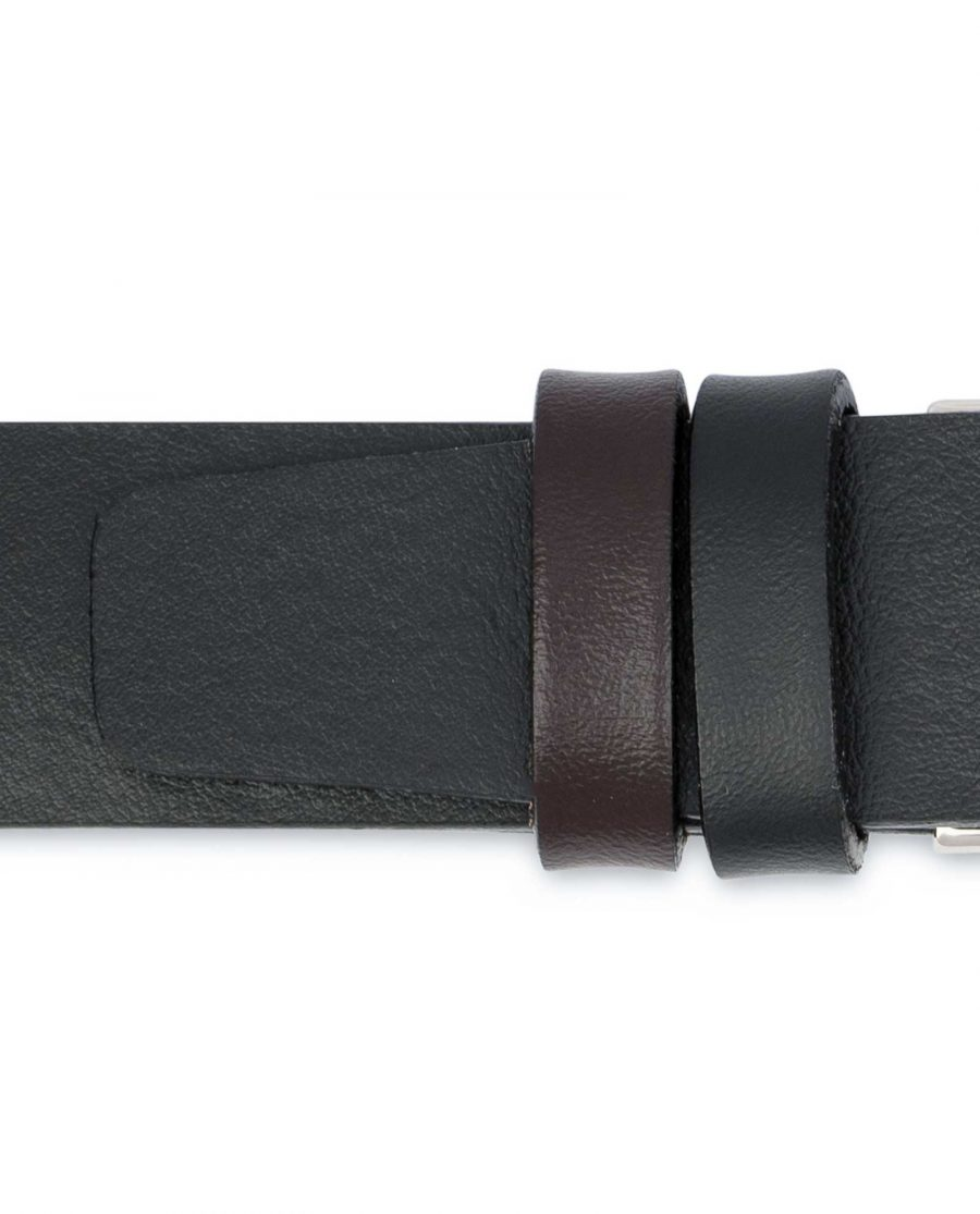 Reversible-Leather-Belt-Mens-Black-Brown-1-1-8-inch-Loops