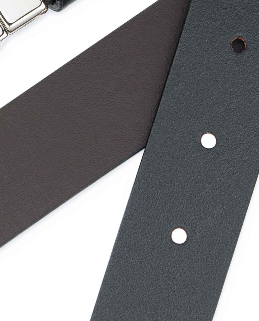 Reversible-Leather-Belt-Mens-Black-Brown-1-1-8-inch-Smooth
